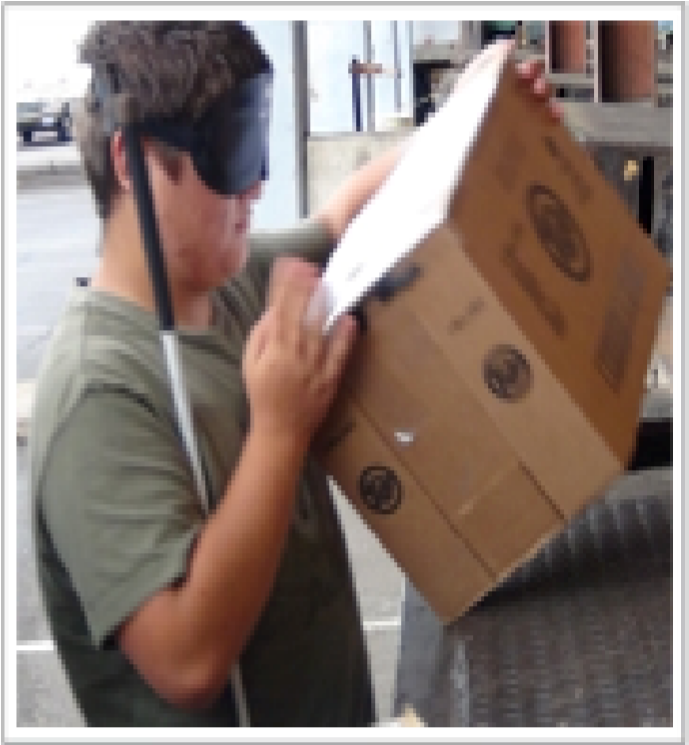 Photo of a male student unloading a box.