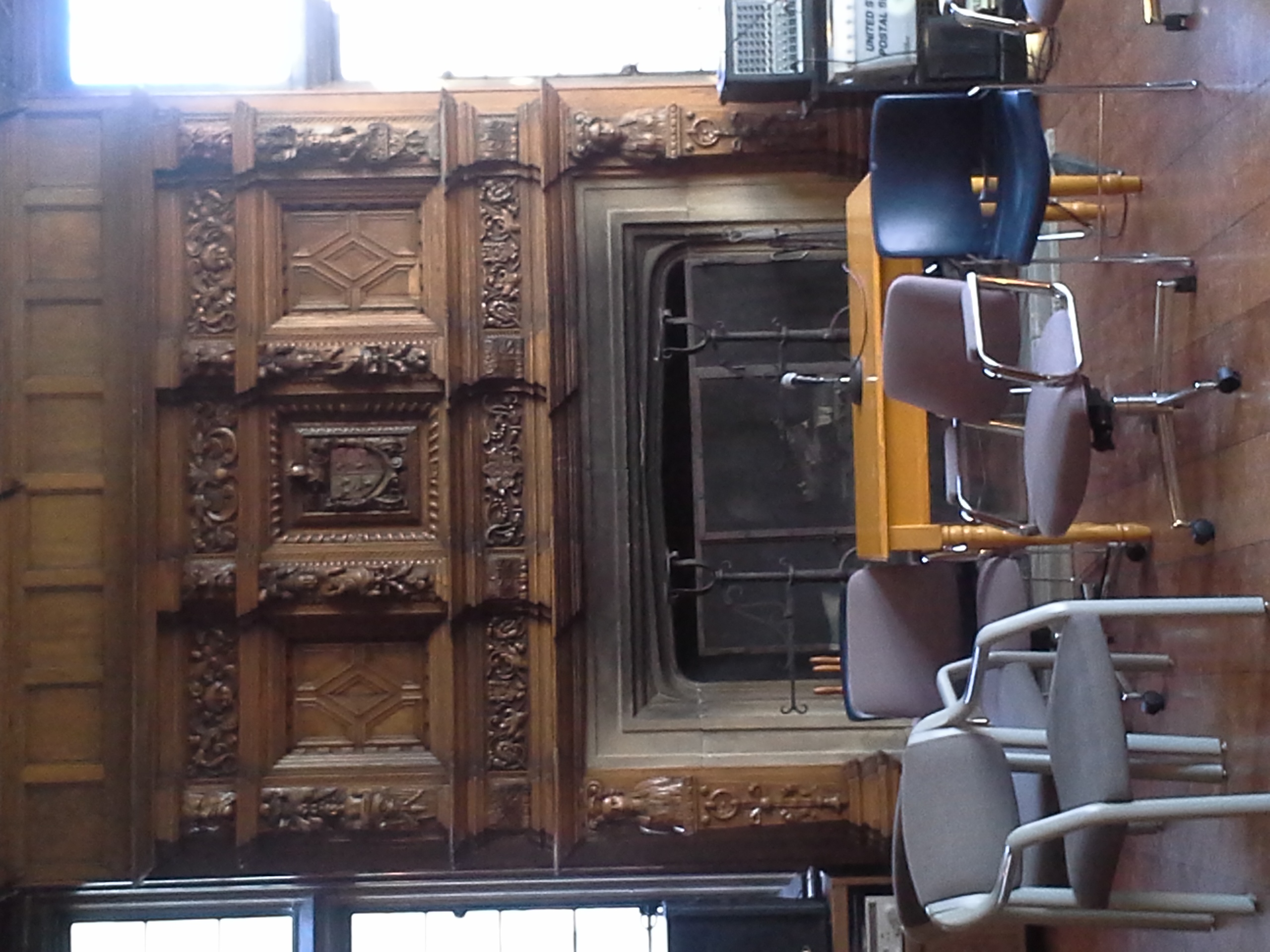 A picture of some of the ornamental woodwork and carving located in the Pillsbury mansion